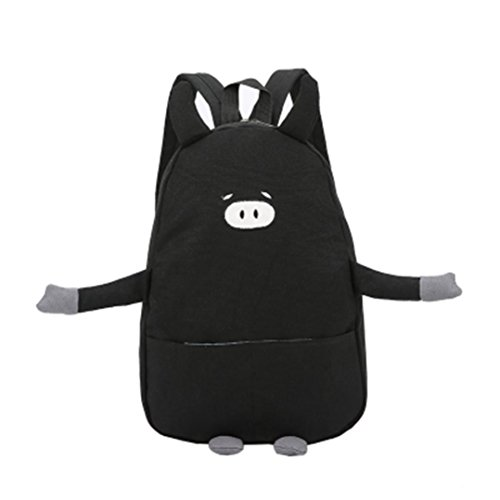 Price comparison product image Aitena Girls Cute Little Piggy with Pig Ears Little Hand Shank Zipper Double Shoulder Backpack (Black)