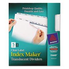 - (3 Pack Value Bundle) AVE11449 Index Maker Clear Label Punched Dividers, 5-Tab, Letter