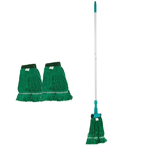 KLHB-YF Wet Mop, 51-inch long Light Aluminum Handle Duty Wet Deck Spin Cotton Mop with 2 Cotton Yarn Mop Pads for Cleaning Hardwood Floor Bathroom Kitchen Tile (Green)