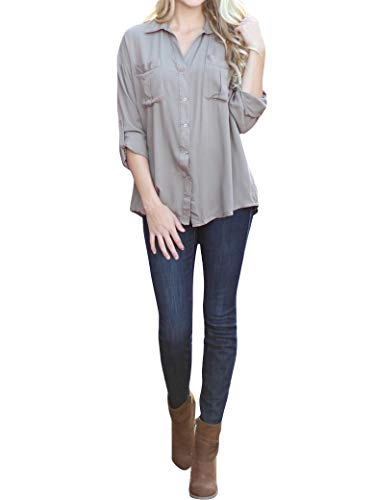 PLNCAYFZ Women Solid Color Pockets Relaxed Roll Sleeve Blouse Tops Grey