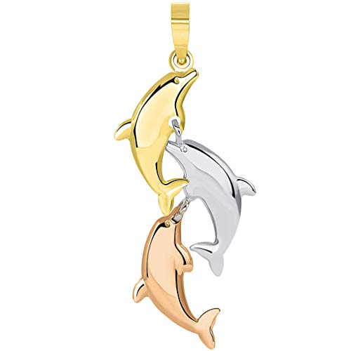 - 14k Tri Color Gold 3D Three Dangling Dolphins Jumping Vertical Pendant