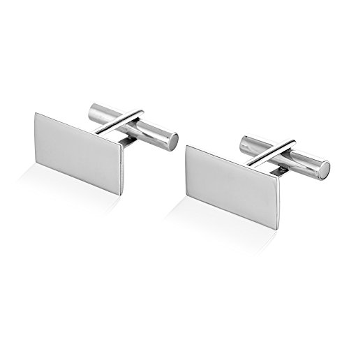 925 Sterling Silver Brushed Matte Finish Rectangular Cuff Links Set Of Two  2   Mens Cufflinks