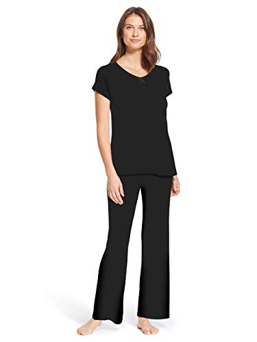 Kathy Ireland Womens 2 Piece Short Sleeve Scoop Neck Shirt Pajama Sleep Pants Black Medium ()