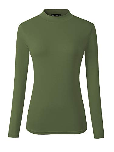 Veranee Women's Long Sleeve Slim Fit Turtleneck Basic Layering T-Shirt Large Olive