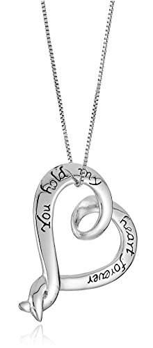 "Sterling Silver ""You Hold My Heart Forever"" Pendant Necklace, 18"""