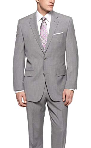 Michael Kors Regular Fit Light Gray Pinstriped Two Button Wool Suit ()