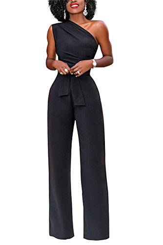 0149584baf6d Vamvie Women s Sexy Wide Leg Sleeveless One Shoulder Jumpsuit Long Pants  Casual Elegant Party Romper