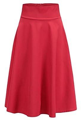 SYTX Women's Casual High Waist A-Line Swing Skater Knee-Length Flowy Skirt