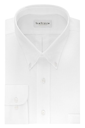 Van Heusen Men's Long Sleeve Oxford Dress Shirt, White, Medium