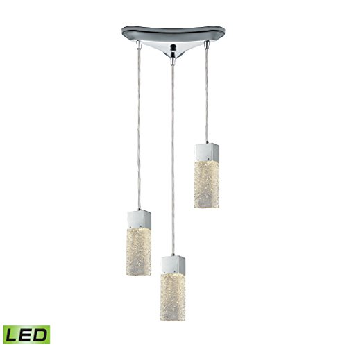 Cubic Ice 3 Light Triangle Pan Fixture In Polished Chrome With Solid Textured Glass Cubic Three Light Chandelier