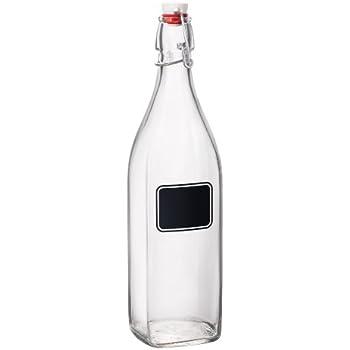 Bormioli Rocco Swing Bottle with Chalkboard, 33-3/4-Ounce, Set of 6