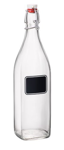 Bormioli Rocco Swing Bottle with Chalkboard, 33-3/4-Ounce, S