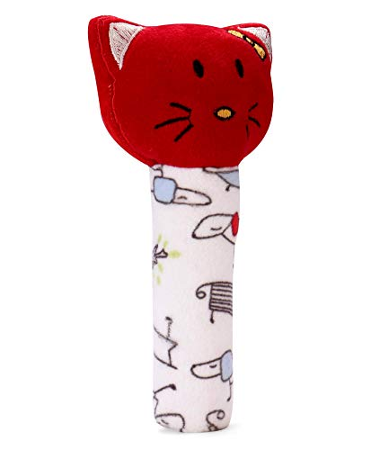 Pikipo Kitty Face Rattle Cum Soft Toy (Squeeze Handle for Squeaky Sound)