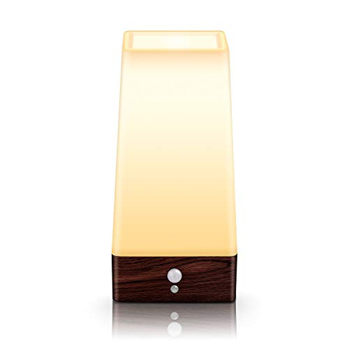 Motion Sensor Night Light, Battery Operated Lamp, Portable Wireless LED Table Bedside Desk Lights for Bedroom, Hallway, Bathroom, Kitchen, Living Room-Square Wood