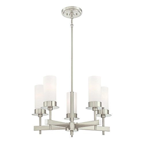 5 Light Dining Room Chandelier - Westinghouse 6327000 Roswell Five-Light Indoor Chandelier, Brushed Nickel Finish with Frosted Opal Glass