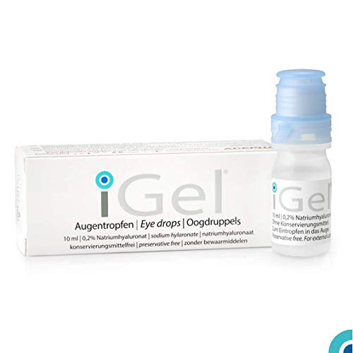 iGel® Moisturizing Eye Drops for Dry Itchy Eyes | Artificial Tears for Red Eyes | Lubricating Eye Drops for Contact Lenses | Hyaluronic Acid & Preservative Free | Made in Europe