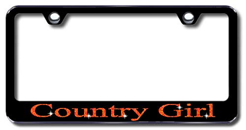 Aluminum Country Girl Design License Plate Frame with Swarovski Crystal Bling Diamond (Black License Plate, Orange Crystals) -  Simply Infinite Productions
