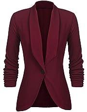 UNibelle Damesblazer elegant getailleerd business pak 3/4 mouwen lang borduurjack, wijnrood, XXL