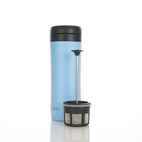Espro Travel Coffee Press, Stainless Steel, 12 oz (Sky Blue) by Espro