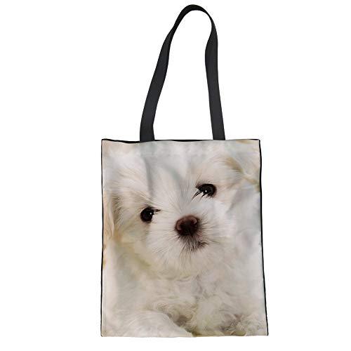 Print Large Shopper Handbag - Upetstory Women's Canvas Tote Shopping Bag Charming West Highland White Terrier Print School Shoulder Book Bag for Girls