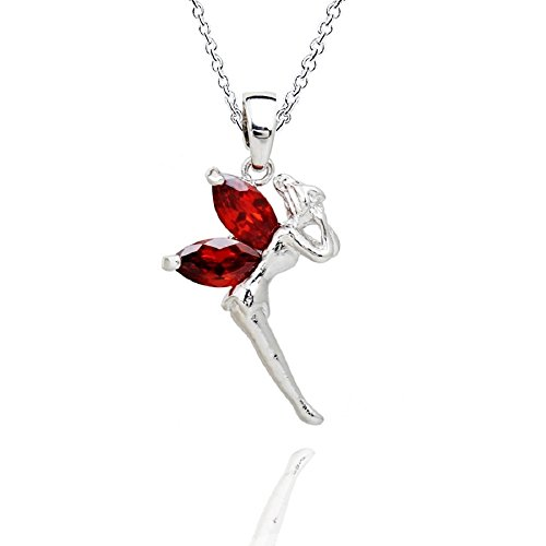 - Fairy Tinkerbell Pendant Necklace with Red Zirconia Crystals 18 ct White Gold Plated 18