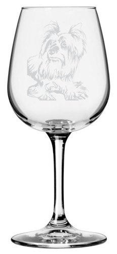 Australian Silky Terrier Dog Themed Etched All Purpose 12.75oz Libbey Wine Glass