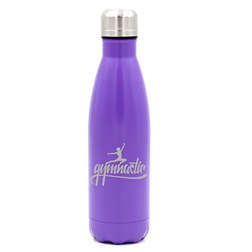 Gymnastics Mug (17 oz. Double Wall Vacuum Insulated Stainless Steel Water Bottle Travel Mug Cup Gymnastic Calligraphy (Purple))