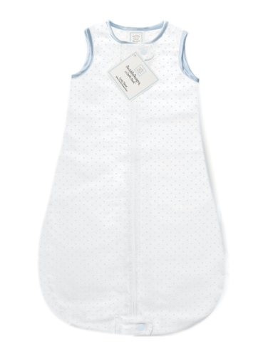 SwaddleDesigns Cotton Sleeping Sack with 2-Way Zipper, Made in USA, Premium Cotton Flannel, Pastel Blue Polka Dots, 6-12MO
