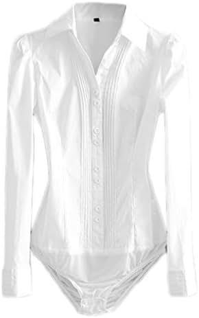 Soojun Women's Long Sleeve Easy Care Work Bodysuit Shirt