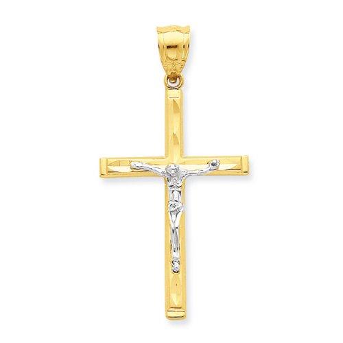 Icecarats Créatrice De Bijoux 10K Rhodium Taille Diamant Pendentif Crucifix