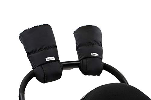 7 A.M. Enfant Warmmuffs Stroller Gloves with Universal Fit (Black Plush)