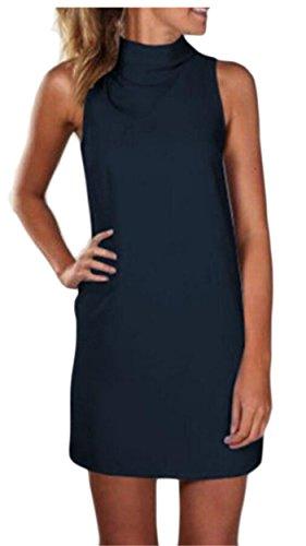 Jaycargogo Mode Des Femmes Mini Robes Sexy Robe De Soirée Sans Manches À Col Roulé Élégant Chemises 1