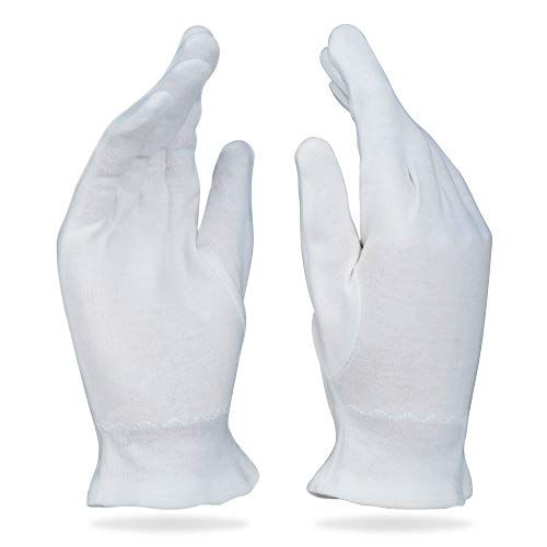 Beauty Care Wear Medium White Cotton Gloves for Eczema, Dry Skin, Moisturizing - 20 Gloves (Hand Lotion Gloves)