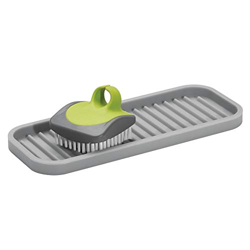 "InterDesign Lineo Silicone Kitchen Sink Tray for Sponges, Scrubbers, Soap, Stovetop Spoon Holder, 9"" x 3.5"" x 0.5"", Gray"