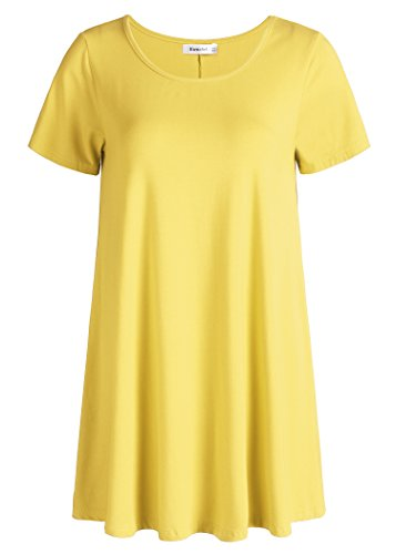 (Esenchel Women's Tunic Top Casual T Shirt for Leggings M Yellow)