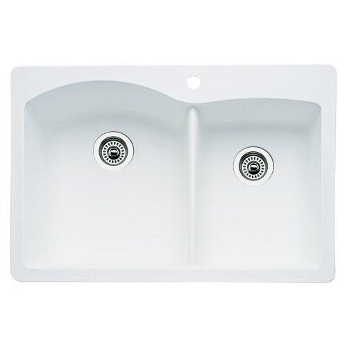 nd 1-3/4 Bowl Kitchen Sink, White Finish ()