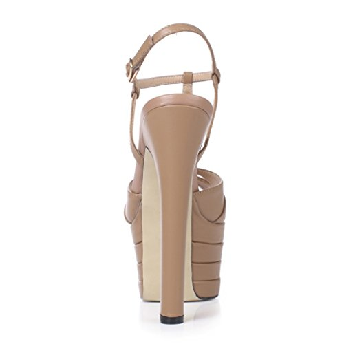 15cm Rivetti Testa Pesce Con Sandali Di Scarpe Party Brown High Da Girl heel Heels Tacco Alto Donna zwZxRHfq