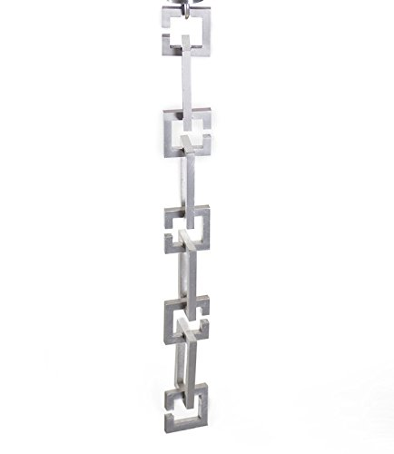 ARCHITECTURAL LINKS RAIN CHAIN - BRUSHED SILVER WITH INSTALLATION KIT (8 Foot)
