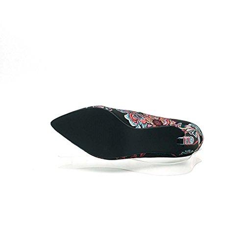 GONGFF Sandalias De La Personalidad De La Boca Baja Bordado Agudo con Estilo Zapato De Tacón Alto #1