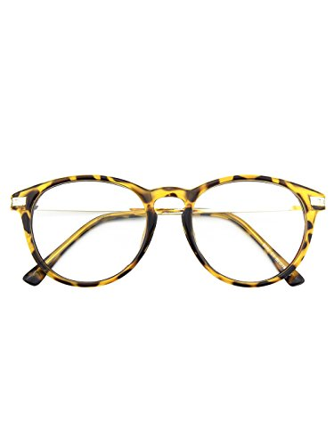 Happy Store CN92 Fashion Keyhole Metal Temple Oval Horn Rimmed Clear Lens - Glasses Tortoise Fake