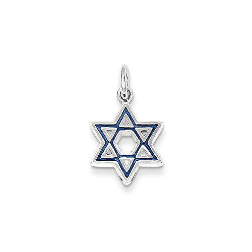Mireval Sterling Silver Enameled Blue Star Of David Charm (17 x 13mm) by Mireval