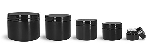 Verified Exchange 8 Oz. Black Polypropylene Plastic Double Wall Straight Sided Jar with Black PS22 Lined Caps (24 Jars)