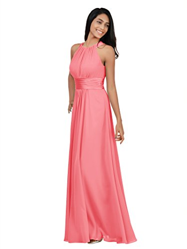 Alicepub Sleeveless Bridesmaid Dresses Long for Women Formal Elegant Halter Evening Dresses for Weddings Empire Maxi Party Prom Gown, Coral Pink, -