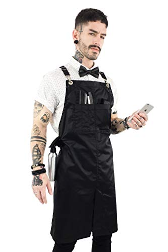 Leather Tattoo Faux (Under NY Sky Cross-Back Barber Jet Black Apron - Chrome Hardware with Durable Coated Twill, Leather Reinforcement and Split-Leg - Adjustable, Men and Women, Pro Hair Stylist, Tattoo, Salon Aprons)