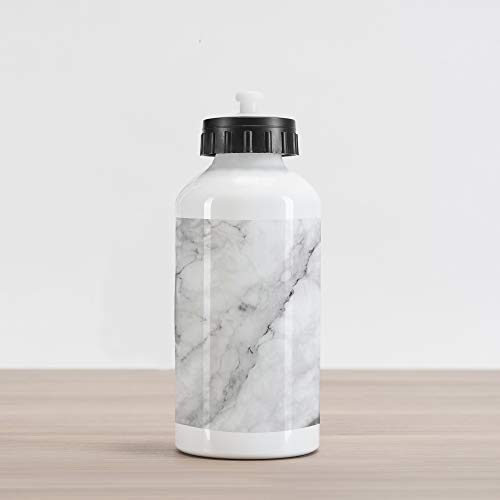 - Ambesonne Marble Aluminum Water Bottle, Granite Surface Motif with Sketch Nature Effect and Cracks Antique Style Image, Aluminum Insulated Spill-Proof Travel Sports Water Bottle, Grey Dust White