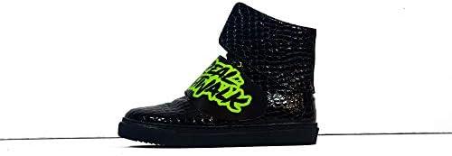 Sneek x Dr Axes XXIII - Handmade Italiennes Cuir pour des Hommes Couleur Noir Chaussures Décontractées Sneakers - Cuir de Vachette Cuir Verni - Lacer