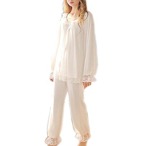 Women's Vintage Victorian Nightgown Pajamas Set Sheer 2 pcs PJ Sleepwear Nghtwear Loungewear (White, Large)