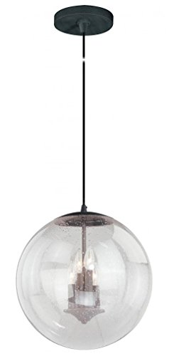 (Vaxcel P0123 630 Series Pendant with Clear Seeded Glass, 15-3/4
