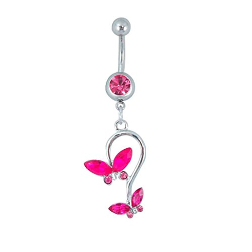 Butterfly Dangle Surgical Steel Belly Button Ring 14 G 3/8 Bar Length With Cubic Zircona Stones