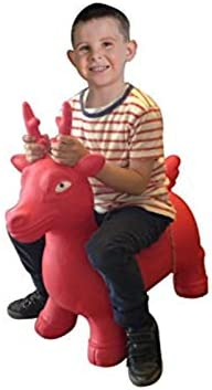 Red Deer, Large bintiva Childrens Horse Hopper,with Free Foot Pump Bouncy Horsey for Children Fun Space Hopper for Core Strengthening Exercise Jumping Animal
